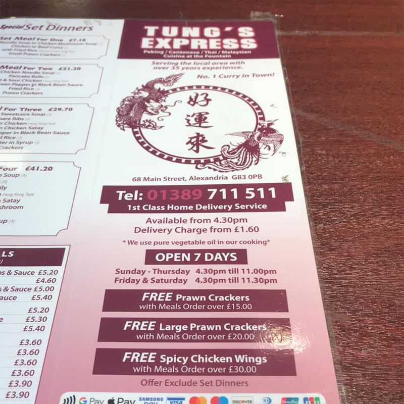 Tungs Express chinese takeaway in Alexandria